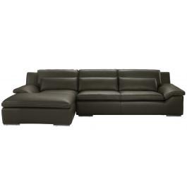 Canapé d'angle L280 cuir Greta gris anthracite