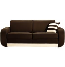 Canapé cuir 3 places bicolore Hillary blanc-chocolat