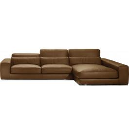 Canapé d'angle L295 cuir et acier chromé Larry cacao