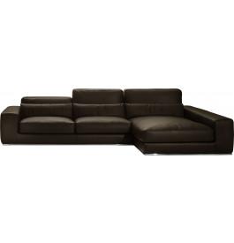 Canapé d'angle L295 cuir et acier chromé Larry chocolat