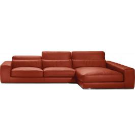 Canapé d'angle L295 cuir et acier chromé Larry rouge