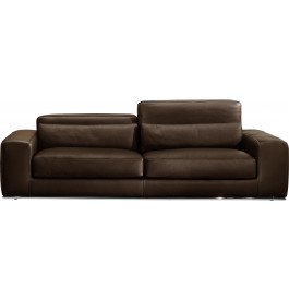 Canapé 3 places cuir et acier chromé Larry chocolat
