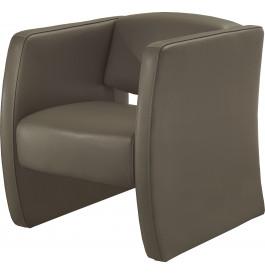Fauteuil cuir contemporain Soren gris