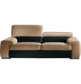 Canapé cuir 2 places appui-tête réglable John noir-cappuccino