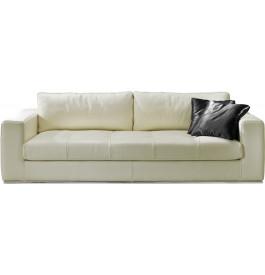 Canapé cuir 3 places capitonné Karen blanc