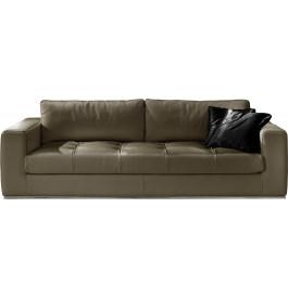 Canapé cuir 3 places capitonné Karen gris