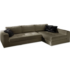 Canapé d'angle cuir L282 capitonné Karen gris