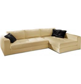 Canapé d'angle cuir L282 capitonné Karen ivoire