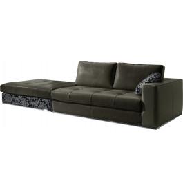 Canapé 4 places cuir capitonné batard + pouf Karen anthracite