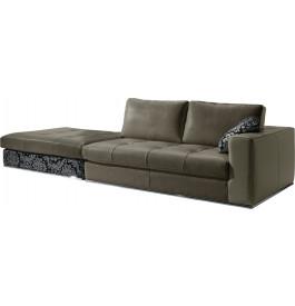 Canapé 4 places cuir capitonné batard + pouf Karen gris