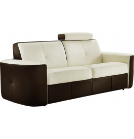 canap cuir capitonn bicolore 3 places craig blanc chocolat. Black Bedroom Furniture Sets. Home Design Ideas