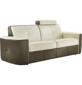 Canapé cuir capitonné bicolore 3 places Craig blanc-gris