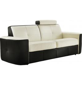 Canapé cuir capitonné bicolore 2 places Craig blanc-noir