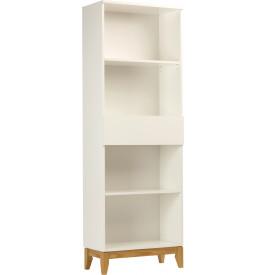 Bibliothèque scandinave blanche pieds 1 tiroir 2 étagères