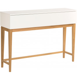 console scandinave blanche pieds ch ne naturel. Black Bedroom Furniture Sets. Home Design Ideas