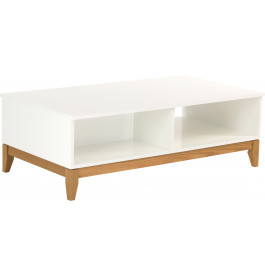 Table basse scandinave blanche pieds chêne naturel
