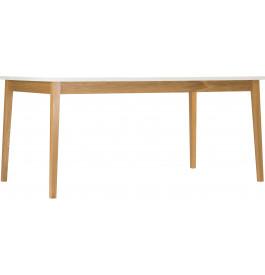 Table de repas scandinave blanche pieds chêne naturel