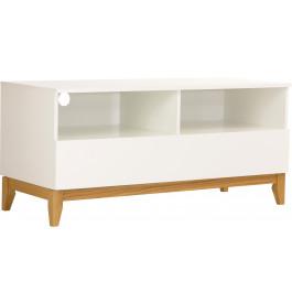 Meuble TV scandinave blanc 1 tiroir  niches pieds chêne naturel