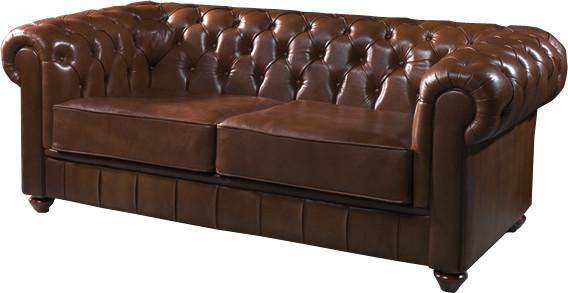 1052 - Canapé club Chesterfield cuir basane clouté chocolat