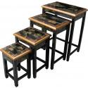Tables gigognes chinoises laque noire (x4)
