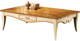Table basse rectangulaire merisier laquée 2 tiroirs