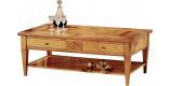 Table basse rectangulaire merisier 4 tiroirs