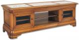 Meuble TV / Hifi bas LCD-plasma Merisier plateau marbre