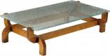 Table basse rectangulaire plateau verre marbré