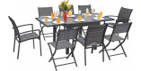 Ensemble Modulo 8 table carrée 4 chaises et 4 fauteuils aluminium gris