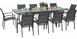 Ensemble Modulo 10 table rectangulaire et 10 fauteuils aluminium gris