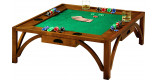 Table basse de poker carrée 4 tiroirs merisier