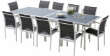 Ensemble Modulo 10 table rectangulaire L135 10 fauteuils aluminium blanc