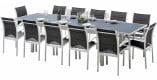 Ensemble Modulo 12 table rectangulaire L200 12 fauteuils aluminium blanc