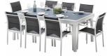 Ensemble Modulo 8 table rectangulaire L200 8 fauteuils aluminium blanc