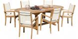 Ensemble table ovale L180 6 fauteuils textilène teck