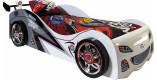 Lit enfant voiture de course blanc et noir 90x200