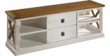 Meuble TV chêne blanc 2 tiroirs 4 niches décors croisillons