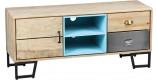 Meuble TV palissandre vieillie 1 porte 2 tiroirs 1 niche