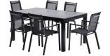 Salon de jardin HPL Star L170 6 fauteuils noir