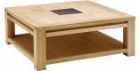 Table basse carrée chêne naturel céramique