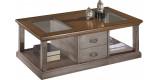 Table basse rectangulaire chêne gris double plateau vitrée 2 tiroirs