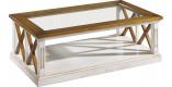 Table basse rectangulaire plateau verre chêne blanc décors croisillons