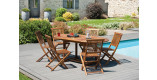 Ensemble jardin teck massif 6 chaises 1 table ovale allonge papillon L120/180
