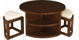 Table basse ronde mindi 90cm 2 tabourets 4 niches