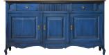 Buffet chêne massif bleu 3 portes 2 tiroirs pieds galbés