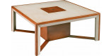 Table basse bar carrée merisier massif laquée blanche 1 niche centrale