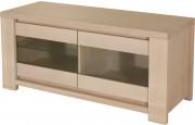 10308 - Meuble TV chêne massif 2 portes verre 1 étagère