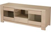 10313 - Meuble TV chêne massif 2 portes 1 niche 1 tiroir