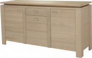 10331 - Buffet 3 portes 1 tiroir chêne blanc pierre
