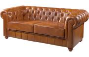 1054 - Canapé club Chesterfield cuir basane clouté miel